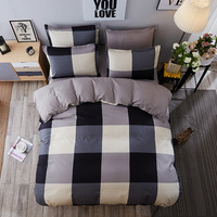 Plaid Black and White Bed Set Striped Gray Comforter Bedding Sets Queen Size Home Bedspread Blue Casual Bed Sheet ropa de cama