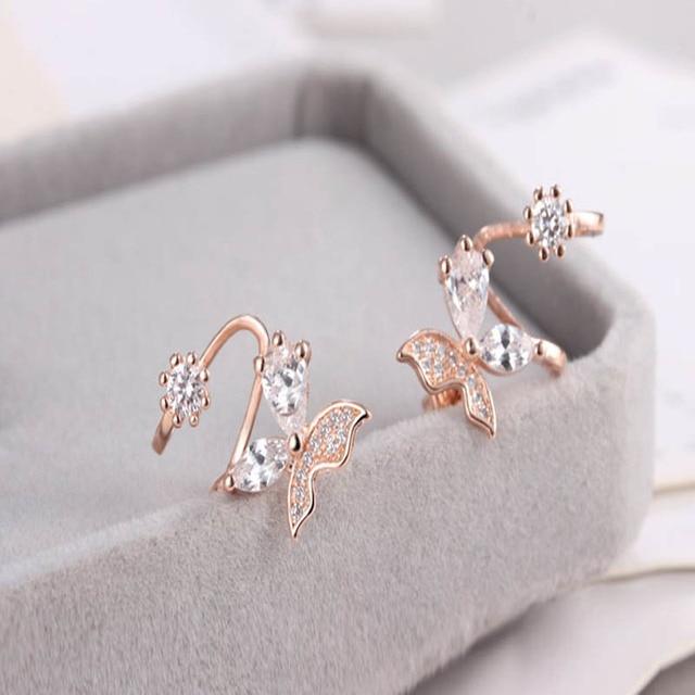 New Cubic Zirconia modern women's earrings Butterfly shape Crystal Square Prevent allergy Party Wedding Drop Earrings For girl
