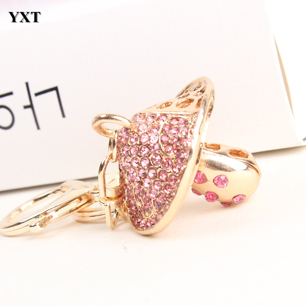 Mushroom Hot Pink Lovely Charm Pendent Crystal Purse Bag Keyring Key Chain Gift Travel Outfit Collection Women Party