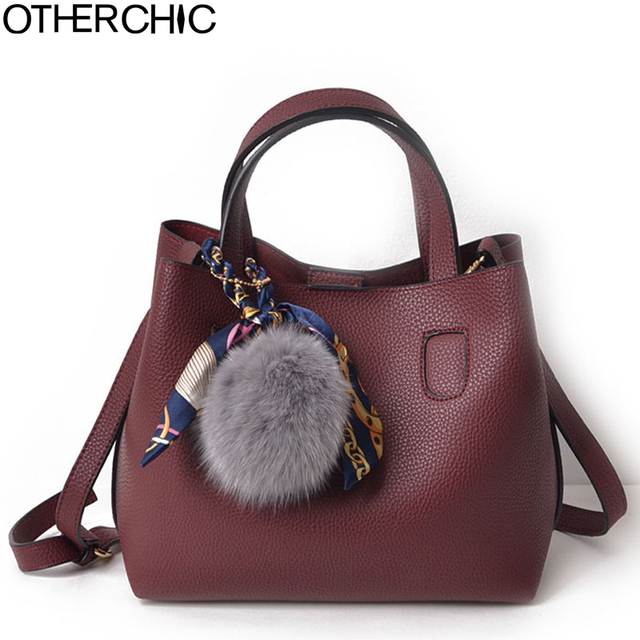 Otherchic Fashion Faux Leather Women Handbags Burgundy Solid Double Bags All Match Brand Clemence Messenger