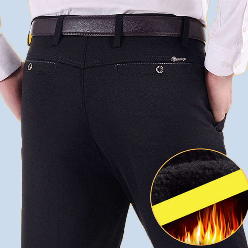 Business Casual Pant Keep Warm Winter Fashion Trousers Men Suit Pant Men Gentleman No Ironing Thick MOOWNUC Slim Fit 38 39 40 36