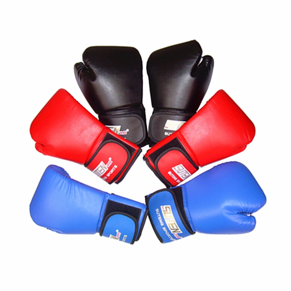 Childrens black leather gloves - 1pair Kids Children Pu Leather Boxing Gloves Sparring Punch Bag Muay Thai Kickboxing Training China