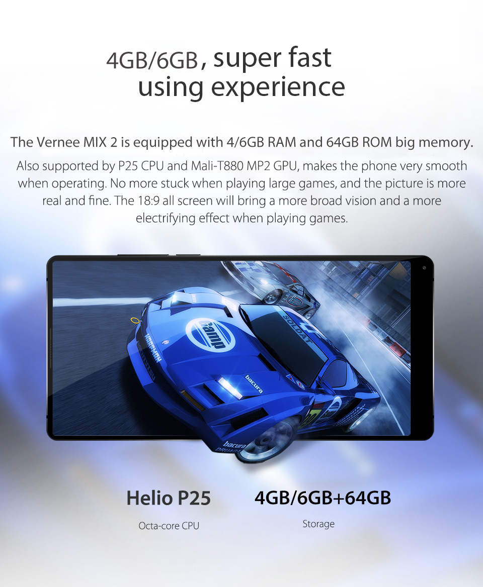 Vernee Mix 2 Mobile Phone 4GB6GB 64GB 6.0 Phablet 189 Android 7.0 Phone Octa Core Smartphone 13MP MTK6757 2.5GHz Cellphone 01 088