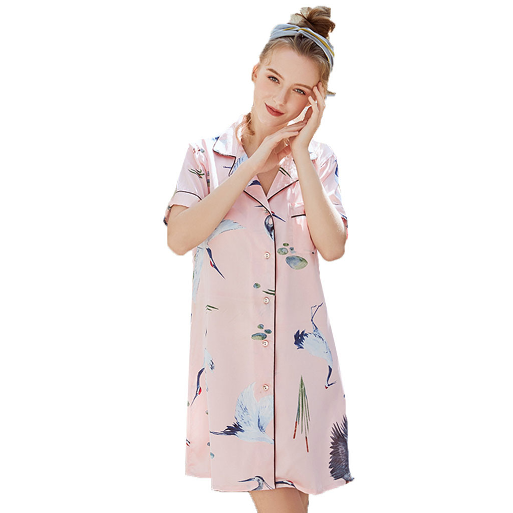 2019 NEW HOT Women Summer Short Style Printed Silk Home   Nightgown     Sleepshirts   Ночная сорочка на дом Wholesale T3