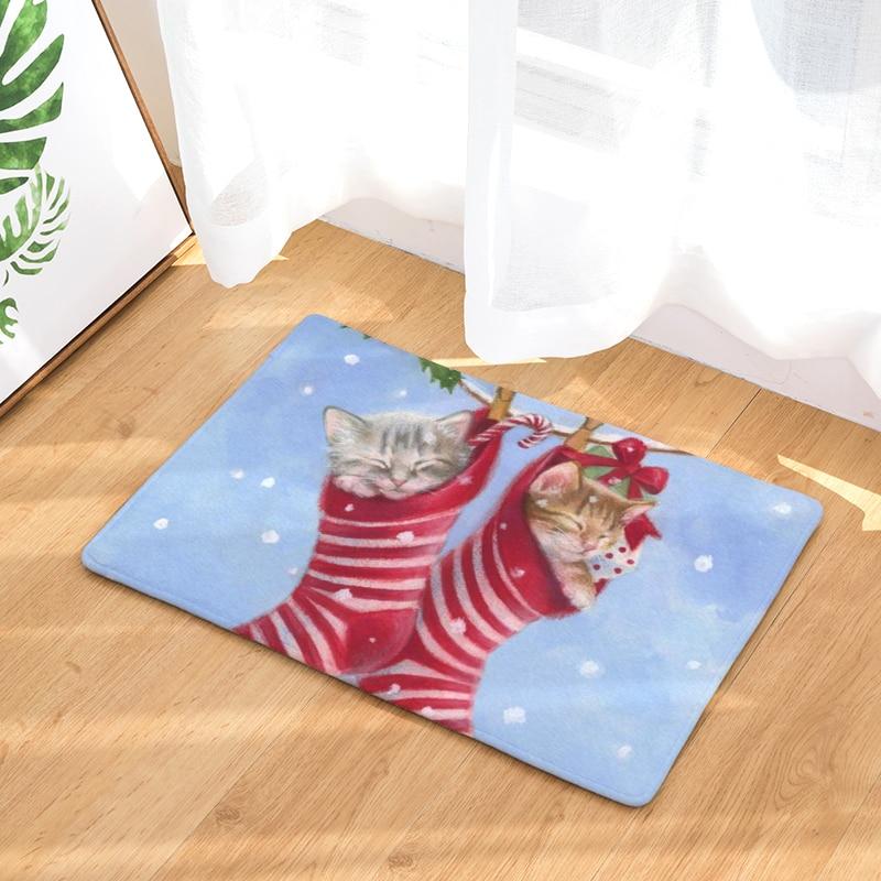 Flannel Floor Mats Round Christmas Socks Printed Bedroom Living Room Carpets Cartoon Pattern Mat for Hallway Anti-Slip Tapete