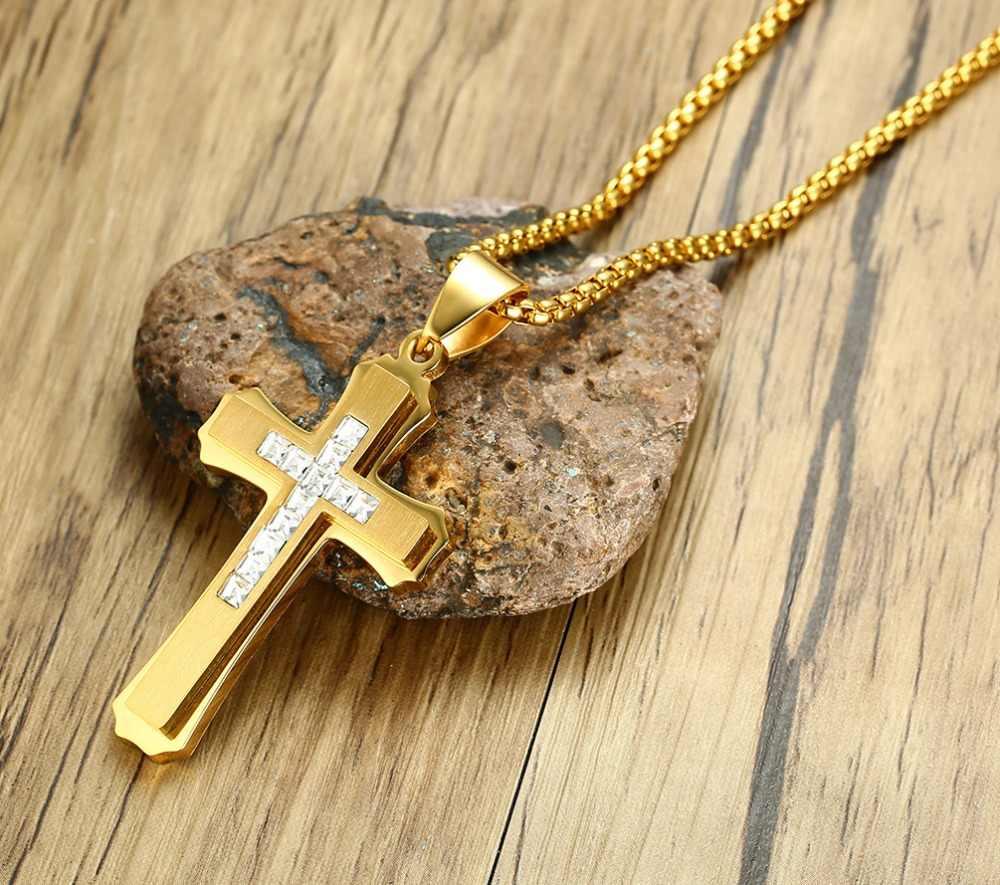 ศาสนาพระเยซูเครื่องประดับสแตนเลสRhinestoneข้ามจี้ผู้ชายโบราณจี้
