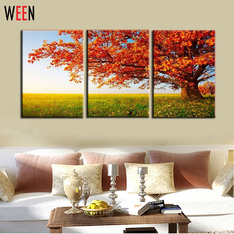 3 Pieces Print Pictures Canvas Painting Modern Wall Art Orange Tree Home Decorative Paint Abstract Canvas Printings Frameless