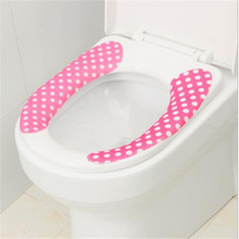 1 Pair Bathroom Warmer Toilet Seat Washable Soft Cover Pad Cushion Water Wash Stickers