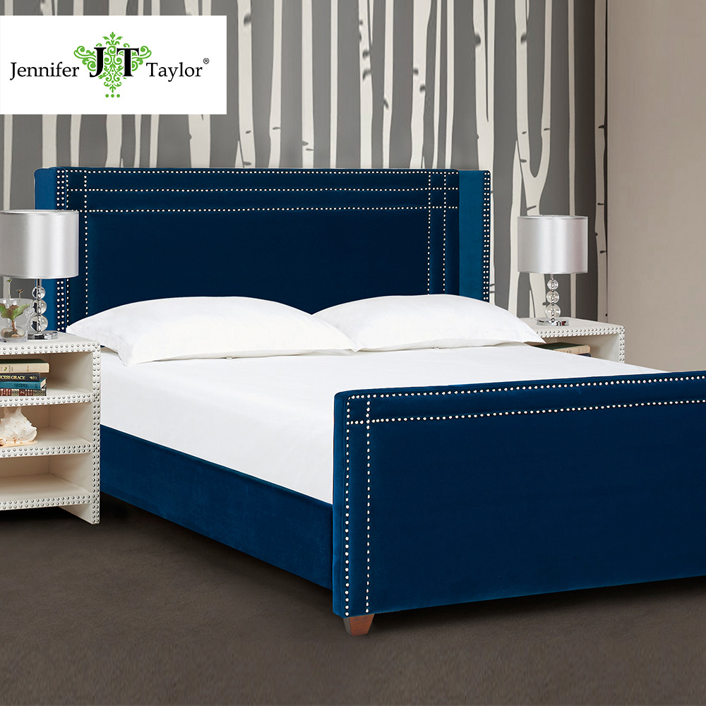 Bed furniture with price - Jennifer Taylor Upholstered Bed King Navy Blue Velvet Hand Applied Nail Heads