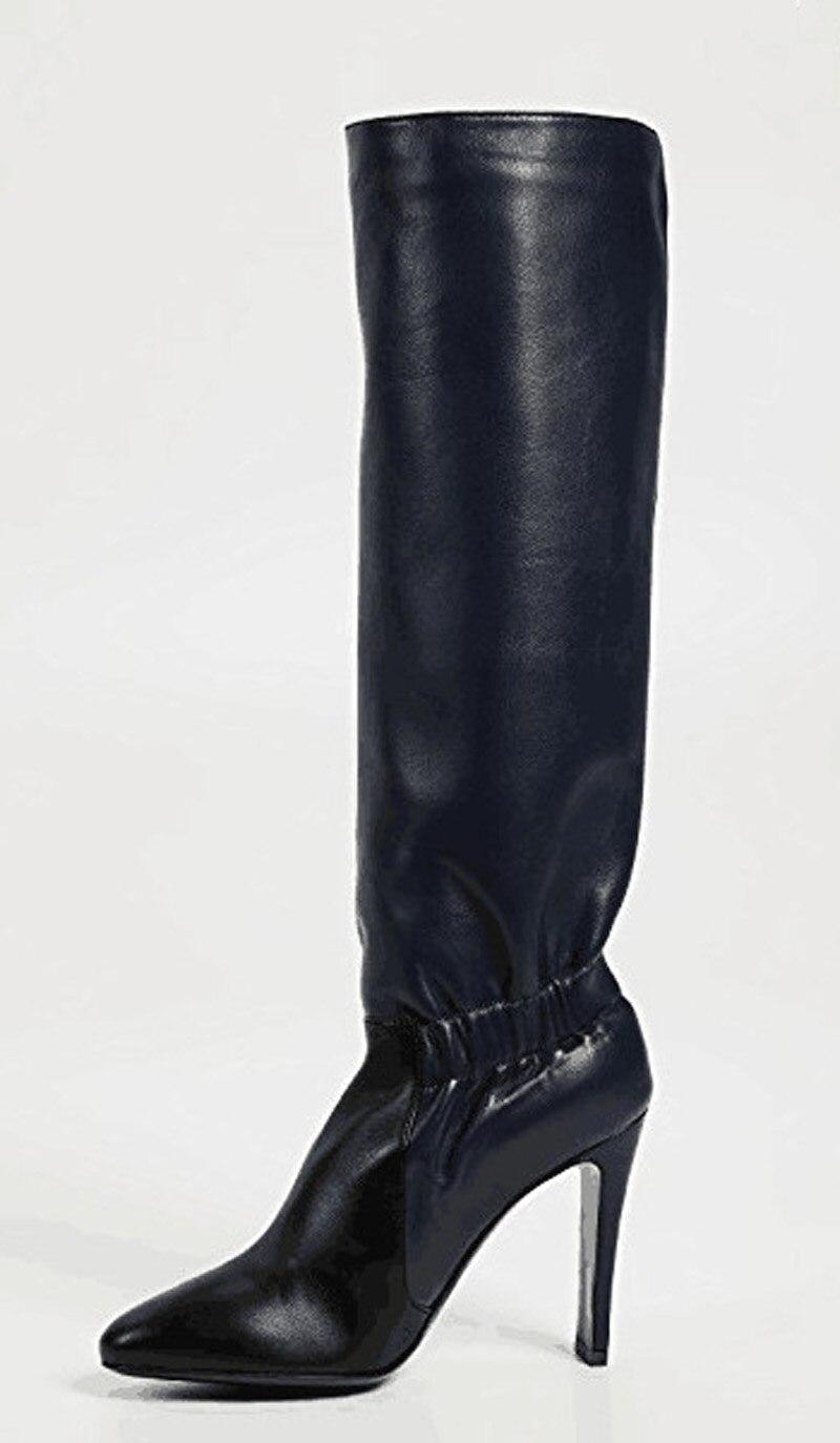 Bout Pointu Haut Sur Chaussures Glissent Bottes Mi De En Femme Souple Cuir Sexy Talons Mode Conception Femmes mollet Plissée Noir Stiletto vzXHWHIn