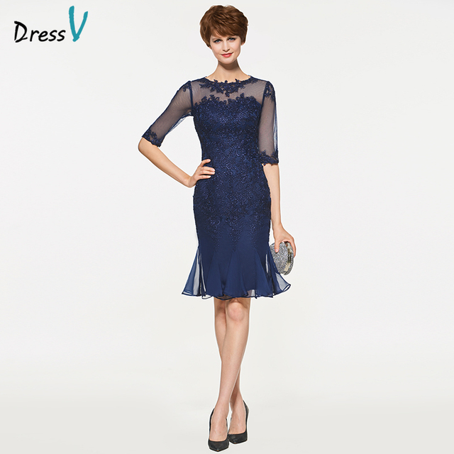 Dressv Sheath Knee Length Mother Of The Bride Dress Half Sleeves Appliques  Pleats Formal Gown Mother of The Bride Dress Custom d7db1d9f97cb