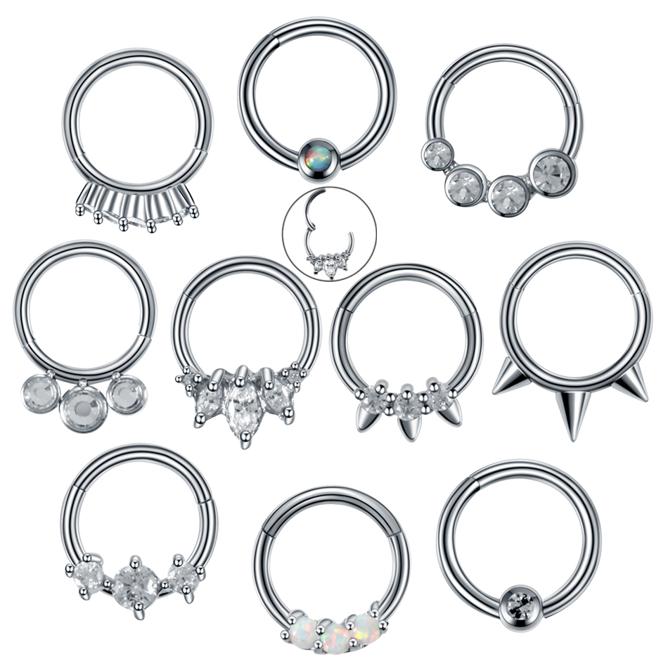 1pc 16g Steel Nose Piercing Segment Hinged Rings Piercing