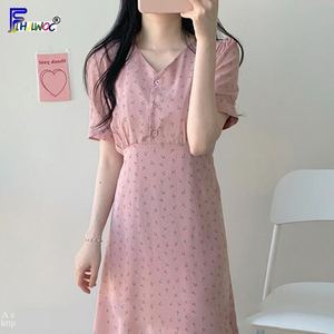 Image 2 - קיץ שיפון שמלות אישה פרחוני חג תאריך חמוד קוריאני יפן סגנון בגדי עיצוב קו קשת עניבת חולצה שמלת ארוך ורוד 603