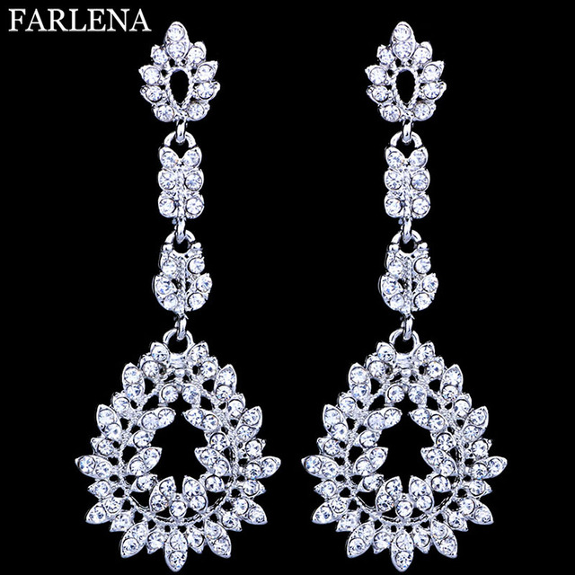 Farlena Jewelry Gorgeous Chandelier Crystal Bridal Long Drop Earrings Silver Color Big Party Hanging Wedding