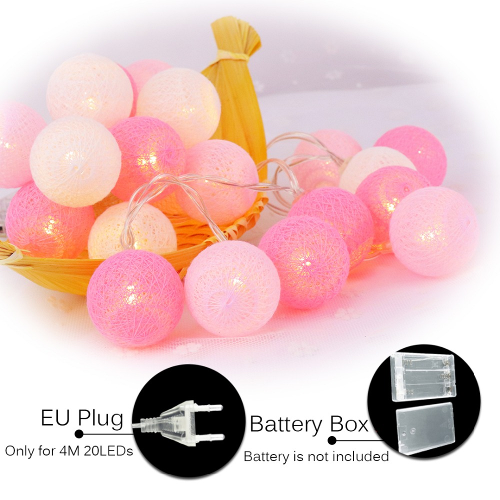 20 Led Pink Cotton Ball Decoración de vacaciones Luz LED String - Iluminación de vacaciones - foto 6