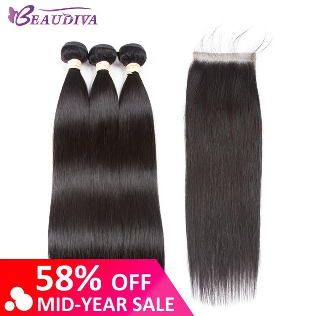 Beaudiva extensión de Cabello 100% paquetes de cabello humano con cierre brasileño cabello tejido 3 paquetes rectos con cierre de encaje