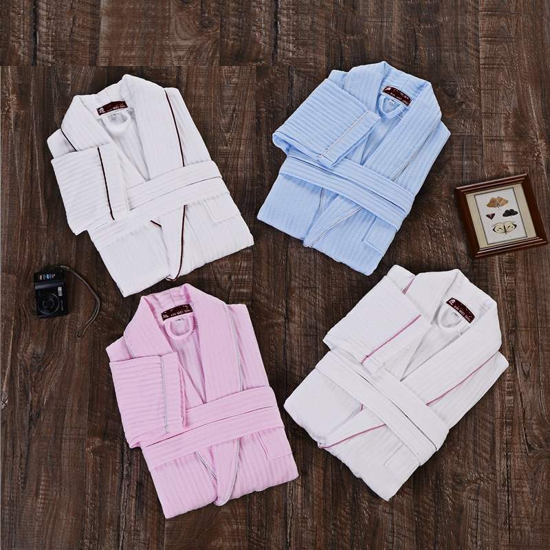 Autumn Pure Cotton Material Plain Color Bathrobe Robe Unisex Plus Size Pajamas Sauna Clothes Set Waffle Nightshirt Sleepwear