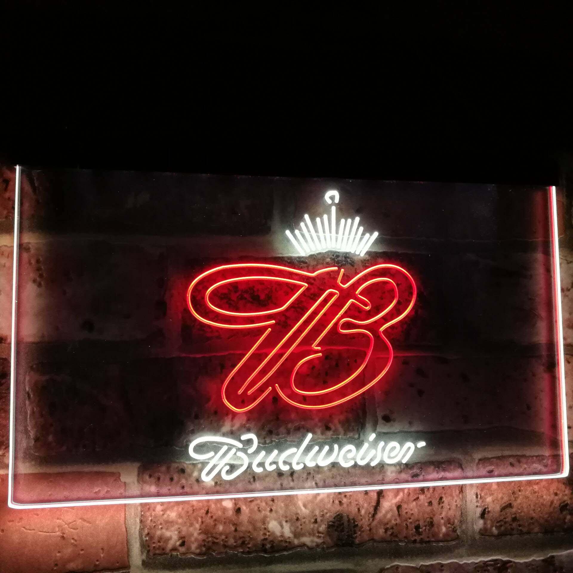 Budweiser couronne roi bière Bar décoration cadeau double couleur Led néon signe st6-a2006