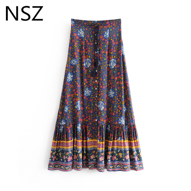 first look elegant appearance best service US $13.29 5% OFF|NSZ Women Print Bohemian Maxi Long Skirt Button Elastic  Waist Drawstring Ankle Length Boho Skirt Nationality Style Skirts-in Skirts  ...