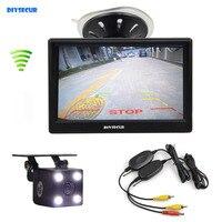 DIYSECUR Draadloze Waterdichte HD Reverse Backup Auto Camera LED Night Vision + 5 inch Lcd-scherm Achteruitrijcamera Monitor Auto Monitor