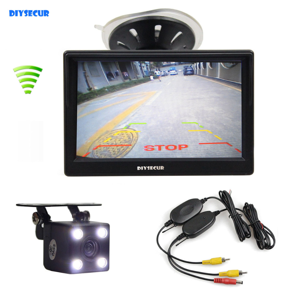 цена DIYSECUR Wireless Waterproof HD Reverse Backup Car Camera LED Night Vision + 5 inch LCD Display Rear View Monitor Car Monitor