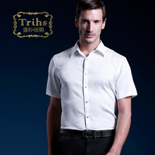 Trihs 14 luxurious nobility elegant silk shirt male short-sleeve mulberry silk sang bo satin