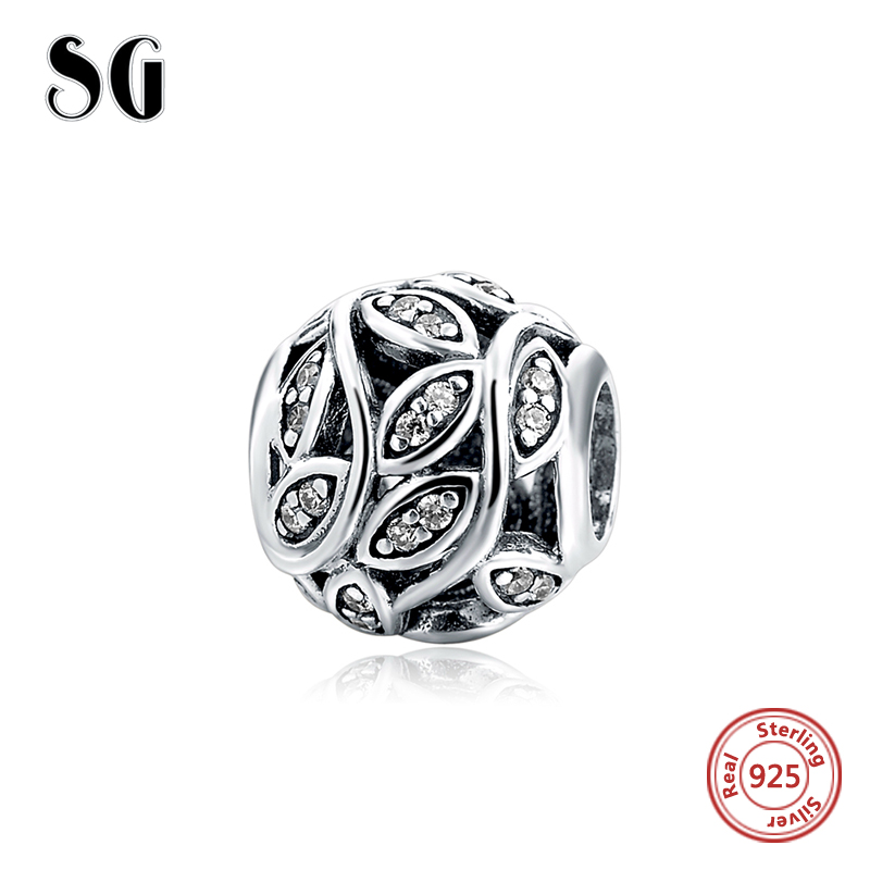 2018 New Style Pave CZ Flower Charm Original Beads Authentic 925 Sterling Silver Fit pandora Charm Bracelet silver jewelry gift