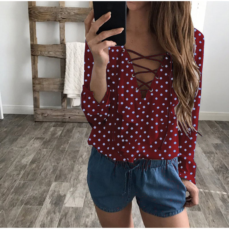 Camisa Gasa Top Cuello Dot Sexy Blue Tamaño Blusa Plus V Casual dark Femenina Larga Mujer Para Volantes sky Black 2xl polka Blue polka polka Black De Polka wine Verano Red white Manga 3xl Red Wine Blue pink Encaje White polka wv0Taq0