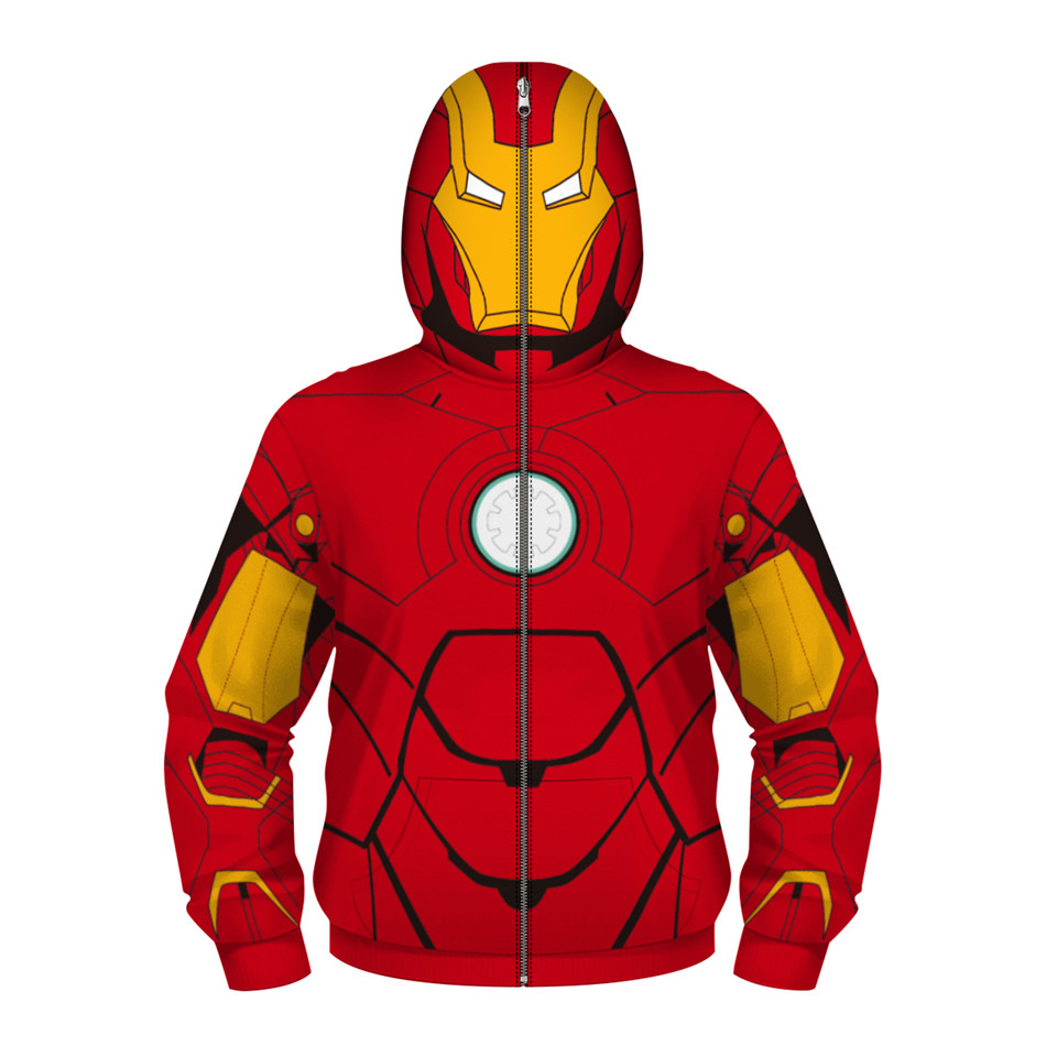 Children Marvel Movie Spiderman 3D Print Avengers 3 Infinite War Cos Superhero Collection Hooded ZIP Kids Boy Girl Hoodie Hoodie