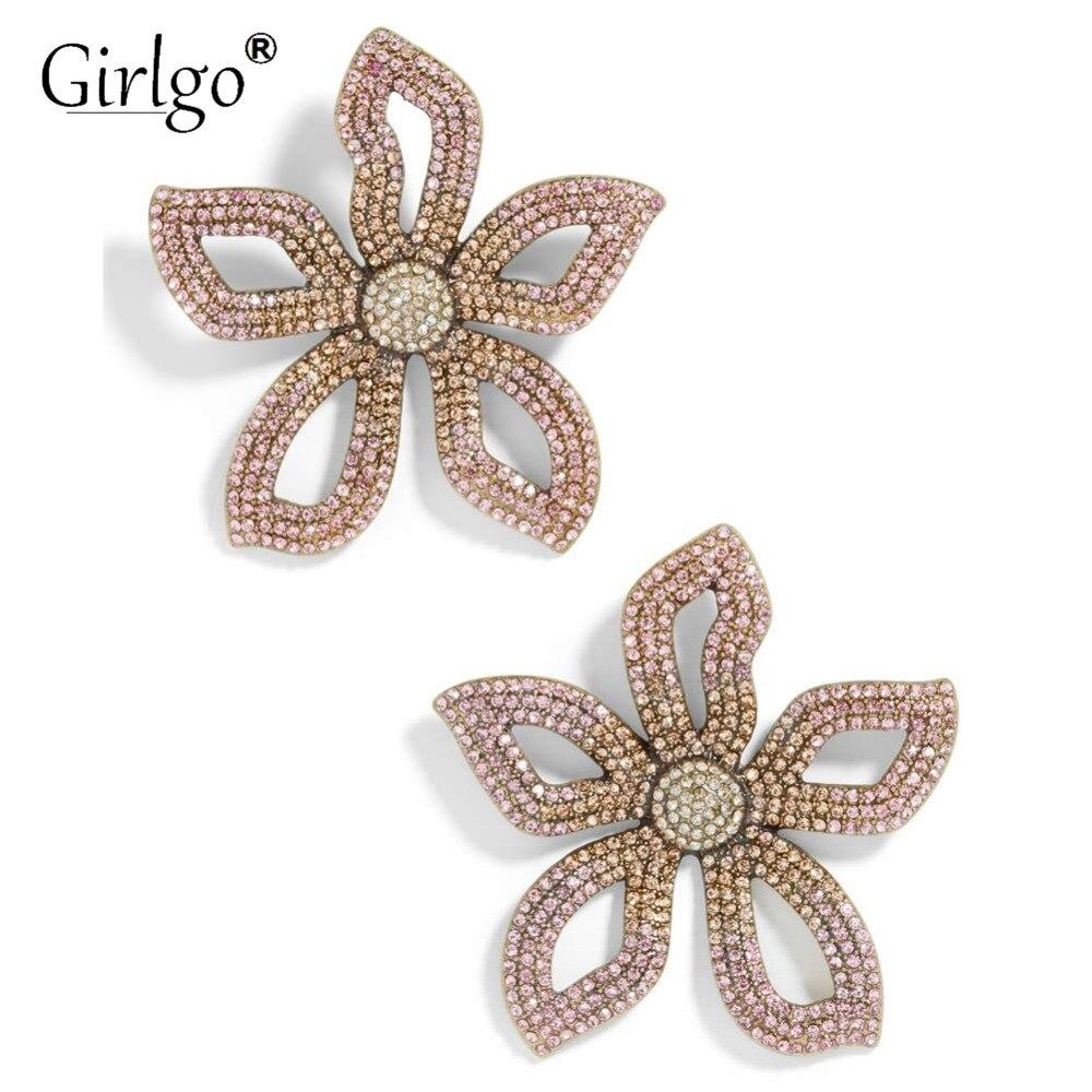 Girlgo Big Flower Stud Earrings For Women Floral Wedding Statement Jewelry Korean Crystal Earrings Dropshipping Gift
