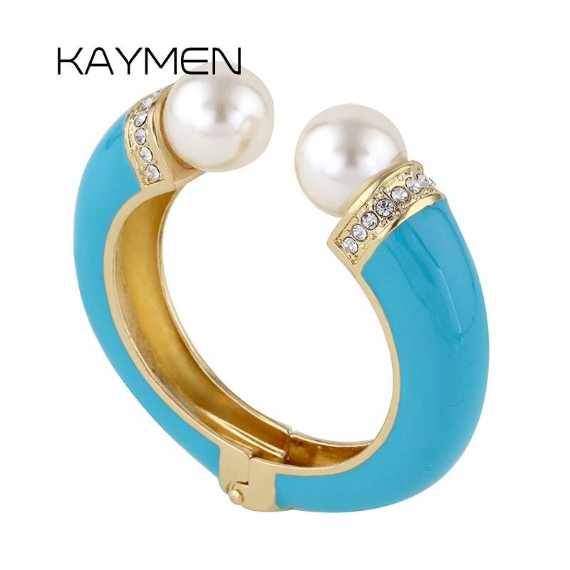 KAYMEN New Fashion Women 6 Colors Double Imitation Pearls and Rhinestones Enamels Bracelet Statement Bangle BR-03155 wholesale