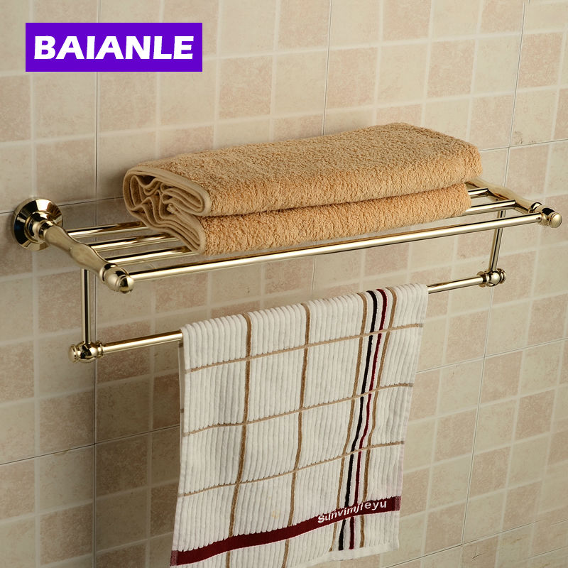 New Arrival  Copper Towel Rod Rack Shelf Towel Rack Fashion Bathroom Accessories Luxury Bath Towel Holder fully copper bathroom towel ring holder silver