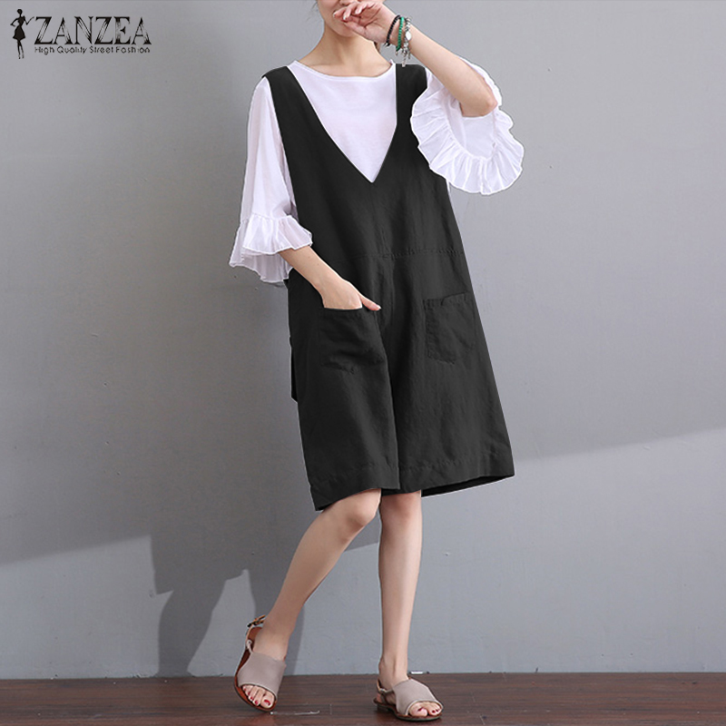 ZANZEA 2018 Summer Women Jumpsuits V Neck Sleeveless Tank Short Bodysuit Casual Loose Playsuits Overalls Rompers Plus Size S-5XL