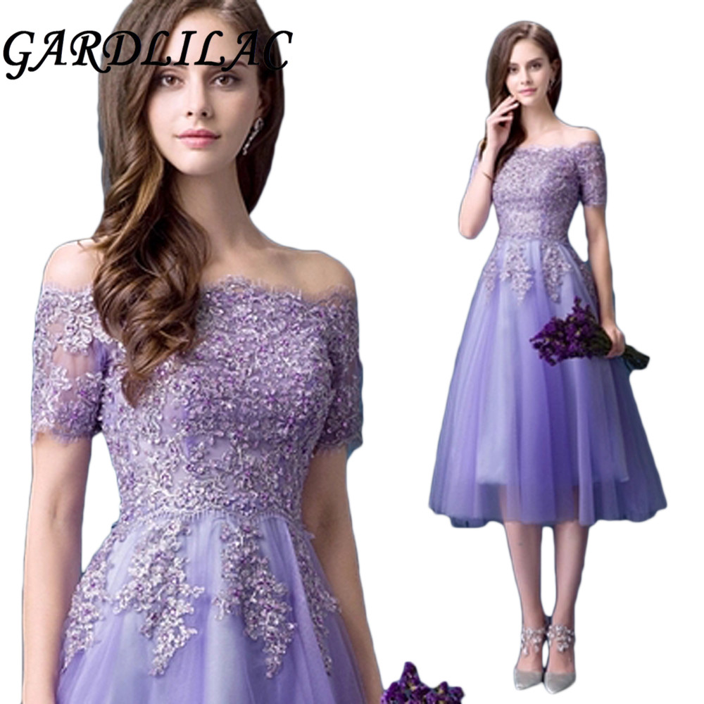 Gardlilas lilas Tulle Applique robe de demoiselle d'honneur perles paillettes avec épaule dénudée robe de soirée de mariage
