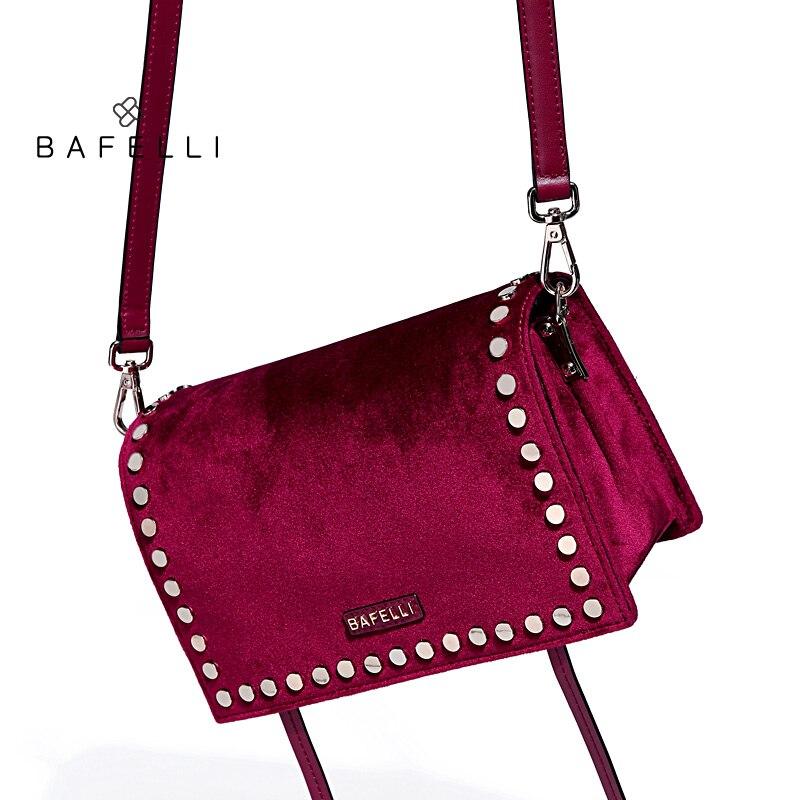 BAFELLI velvet shoulder bag chic rivet bolsos mujer burgundy flap hasp tassel crossbody bag hot sale women messenger bags кошелек xcsource hasp bolsos carteras mujer bb066 sz