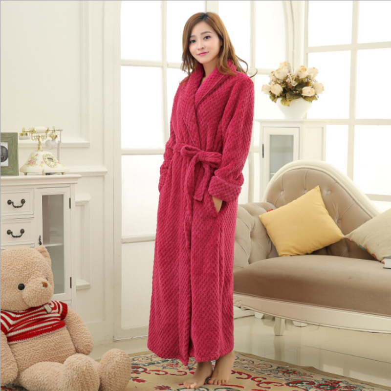 00304cb2b4 Casual Home Sleepwear Dress Gowns For Women Turn Down Collar Solid Female  Flannel Fleece Night Robes For Girls-in Robes from Underwear   Sleepwears on  ...