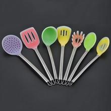 7 Stücke Ein Satz Silikon Und Edelstahl Küche Kochutensilien Antihaft Hitzebeständigem Kochen Werkzeuge-Farbe zufällig