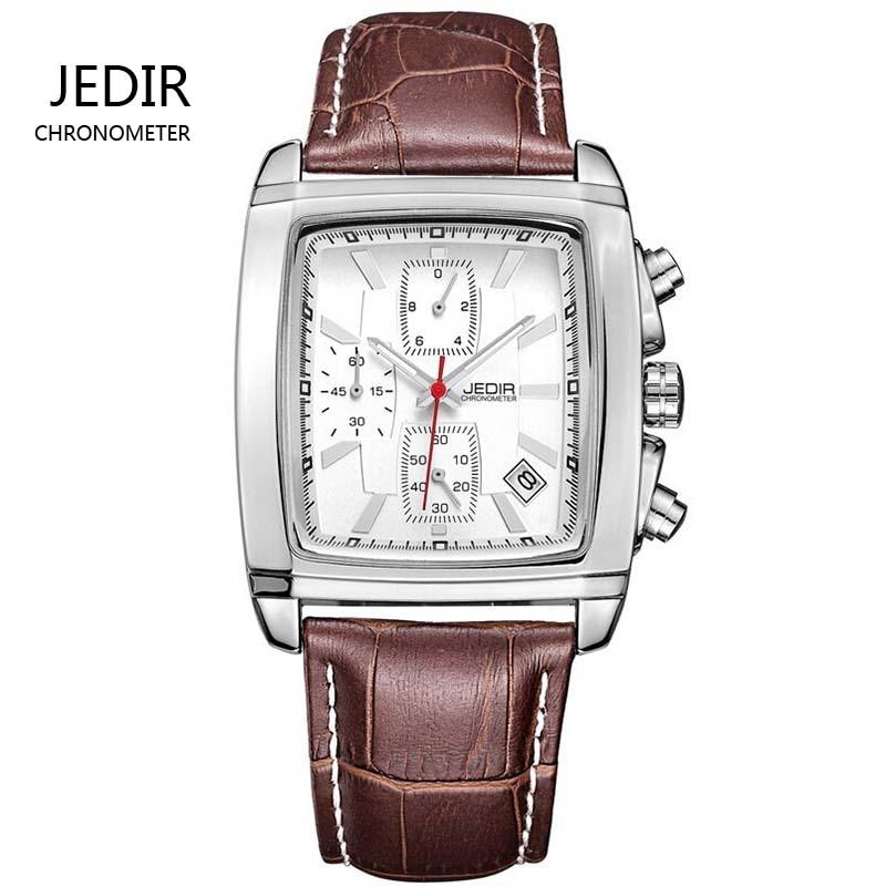 JEDIR fashion casual military chronograph quartz watch men luxury waterproof analog leather wrist watch man free