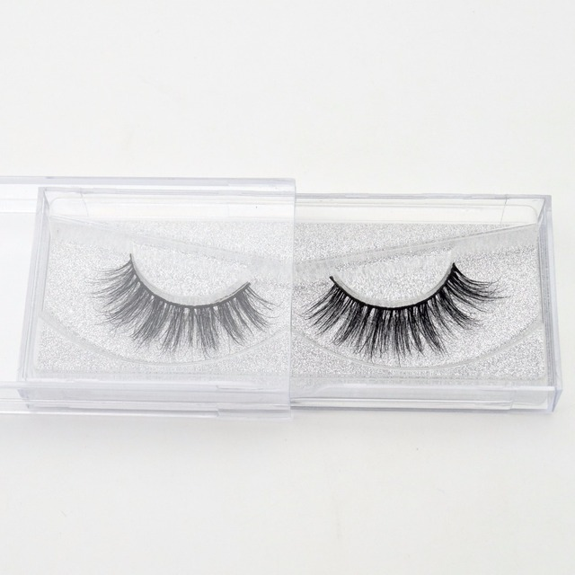 Visofree False eye lashes handmade natural make up False eyelashes glitter packing 1 pair box make up sexy 3D Mink Lashes D01 2