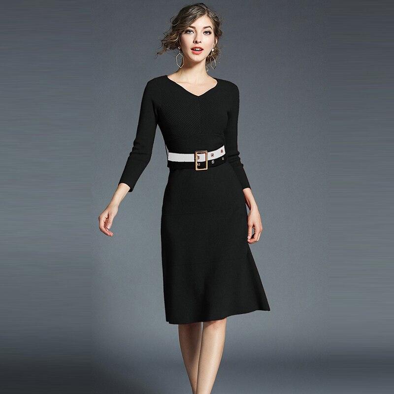 Wine Red Apricot Black Camel Color Midi Dress Women Knee Length