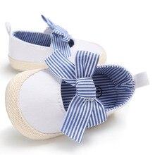 Детская обувь для новорожденных девочек с мягкой подошвой; Повседневная Хлопковая полосатая обувь для кроватки; одна пара