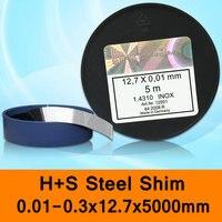H + S In Acciaio Inox Shim DIN 1.4310 INOX H + S HS Muffa Della Muffa Filler Spacer Made in Germany 0.01-0.03x12.7x5000mm Originale pacchetto