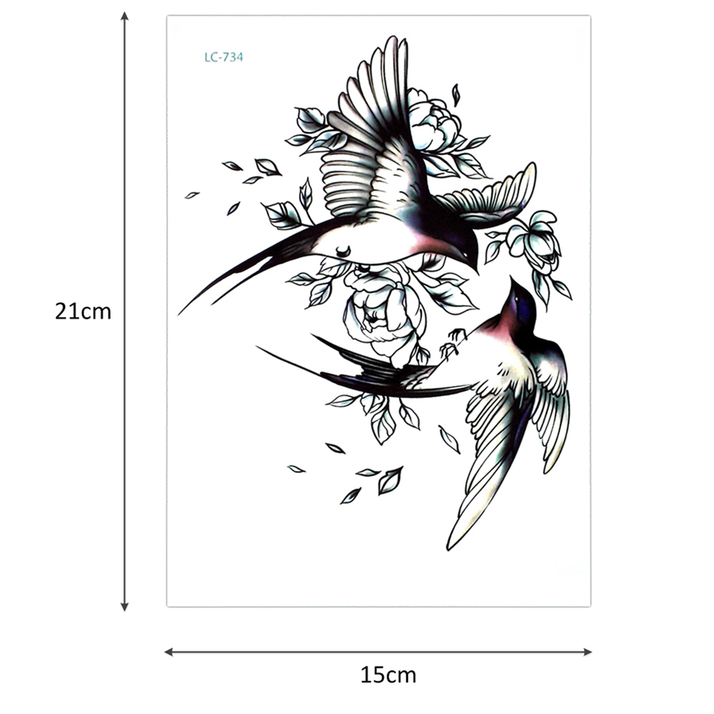 Big Flower arm tattoo Temporary Tattoo Sticker Sparrow/Magpie Fake Tatoo Sleeve Flash Tatto Waterproof Body Art Women sexy girls 2