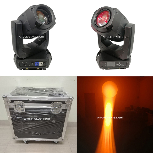 (Flycase)New arrival led lyre moving head zoom 200w led beam spot moving head light with road case