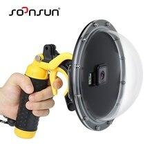 """SOONSUN 6 """"su geçirmez Dome Port dalış Lens kapak kılıf w/tabanca tetik kavrama GoPro Hero 5 için 6 7 8 siyah Hero7 beyaz/gümüş"""