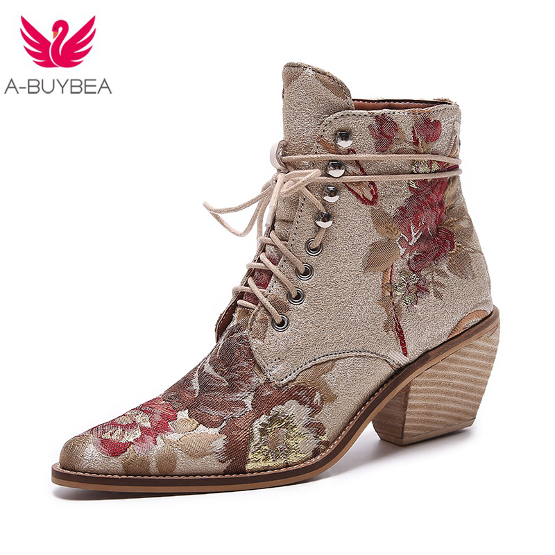 high heel ankle boots women booties shoes womens boots winter 2018 New woman embroidered boots botines mujer botte femme bottine 2017 fashion new red horsehair women ankle boots square high heel short booties autumn zip up martin botines mujer women pumps