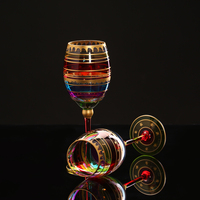 Beautiful color glass goblet cup European camouflage crystal glass wine cup Home decor cups