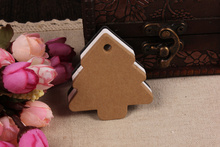 5.5*5.4cm 200Pcs/ Lot Kraft Paper Jewelry Clothes Hang Tag Display Card Label Christmas Tree Greeting Card Hand-painted CARDS