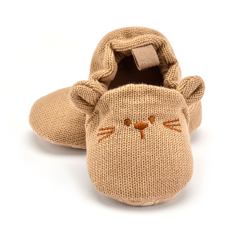 Kasut bayi yang comel Kanak-kanak Bayi Boy Girl Knit Crib Shoes Cute Cartoon Anti-slip Prewalker Baby Slippers