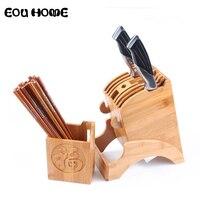 Multifunctional Holes Bamboo Blocks Roll Bags Knife Rack Creative Storage Rack Tool Wood Kitchen Knife Holder Knife Stand Block